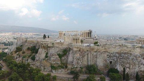 4K Drone Shot Of Athens Acropolis Parthenon