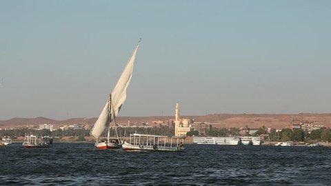 Feluccas Sailing On River Nile; Aswan Egypt