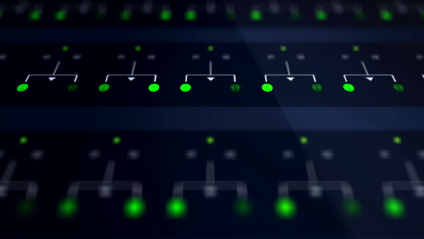 Closeup of Green Network Server Farm Lights Blinking  December 2016