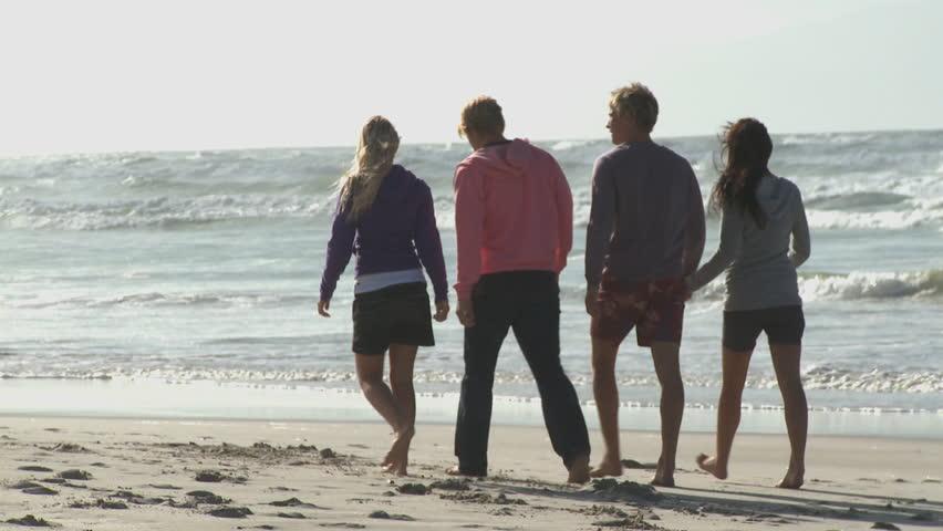 FOCUS SHIFT LONG SHOT PAN OF FRIENDS WALKING ALONG A BEACH