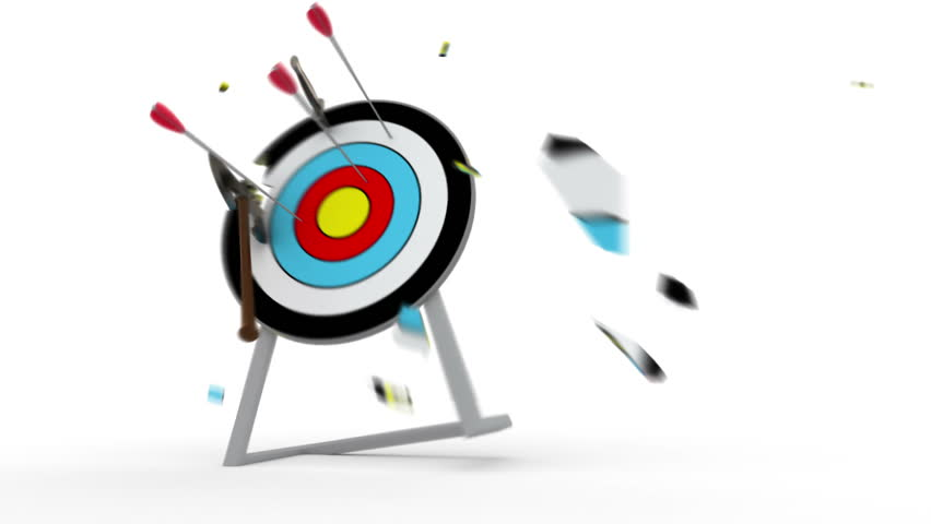 Various weapons hitting target - 3d animation | Shutterstock HD Video #2250583