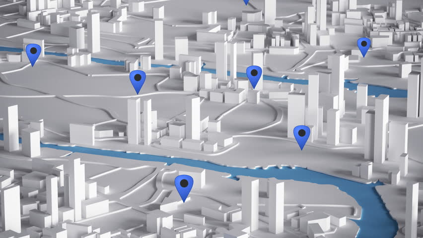 Aerial View of City Buildings 3D Rendering With Blue Point Map 4K Animation  | Shutterstock HD Video #22522633
