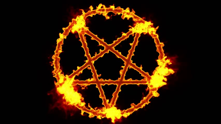 4k pentagram on fire magic symbol 3d animation stock - Raging demon symbol ...