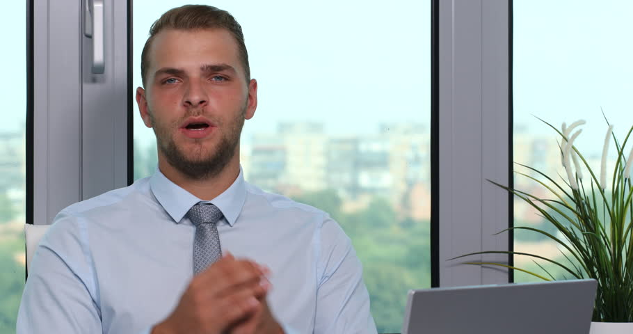 Serious Attractive Businessman Trustful Looking Interview Office ...