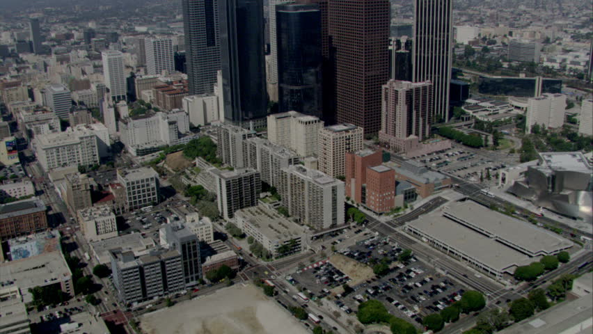 Aerial shot of Los Angeles financial or commercial district of a major city circa 2009 | Shutterstock HD Video #2252881