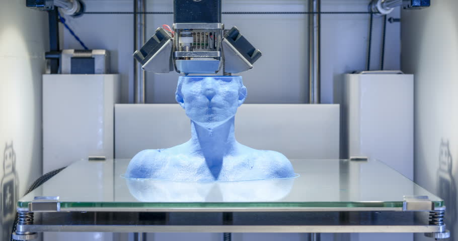 3D printer working. 3D printer, printing a human bust with blue plastic wire filament in additive manufacturing technique. 4K time lapse video