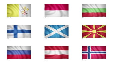 National flag of Vatican City, Monaco, Bulgaria, Finland, Scotland, Macedonia, Russia, Austria, Norway flying in the wind, Europe flag, 3D animation, flag waving in the wind, seamless looping