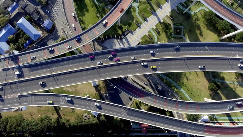 Aerial view of bangkok busy highway taken in afternoon, useful for engineering, industrial, transportation concept | Shutterstock HD Video #22546243