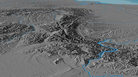 Glide over Transylvanian Alps mountain range - masks. Elevation map. High resolution ASTER GDEM data textured