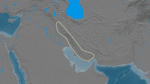 Zoom into Zagros mountain range - glowed. Elevation map. High resolution ASTER GDEM data textured