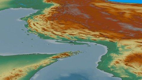 Glide over Zagros mountain range - masks. Relief map. High resolution ASTER GDEM data textured