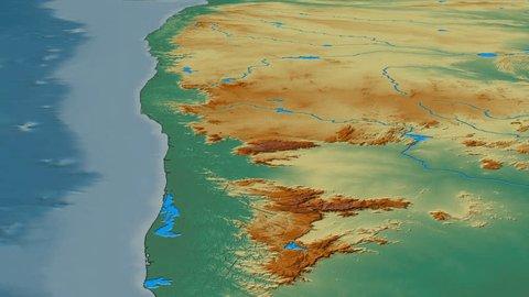 Glide over Western Ghats mountain range - masks. Relief map. High resolution ASTER GDEM data textured