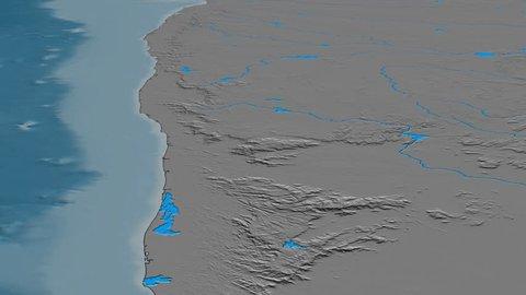 Glide over Western Ghats mountain range - masks. Elevation map. High resolution ASTER GDEM data textured