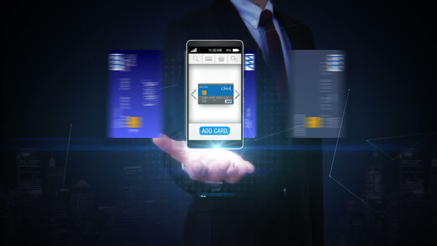 Businessman open palm, credit card into smartphone, mobile, concept of mobile payment, mobile credit card.