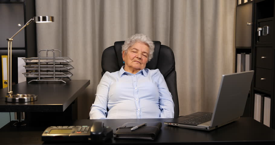 Tired Elderly Lady Sleeping Overworked Old Woman Nap Dreaming Exhausted Female 4k Stock Footage Clip