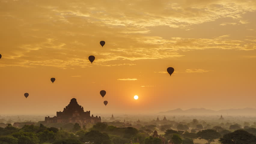 4K Timelapse of the temples of Bagan at sunrise, Mandalay, Myanmar  | Shutterstock HD Video #22584133