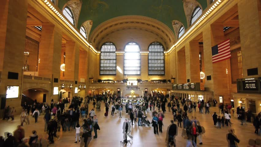 NEW YORK - CIRCA April 2011: Crowd of people walk inside Grand Central Station