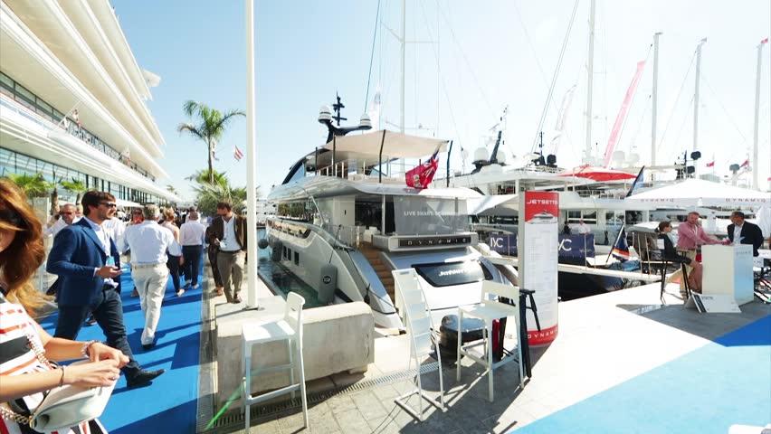 Monaco, Monte-Carlo, 30 September 2016: World Fair MYS Monaco Yacht Show, Port Hercules, luxury megayachts, many shuttles, taxi boat, presentations, Journalists, boat traffic, Azur water | Shutterstock HD Video #22611853