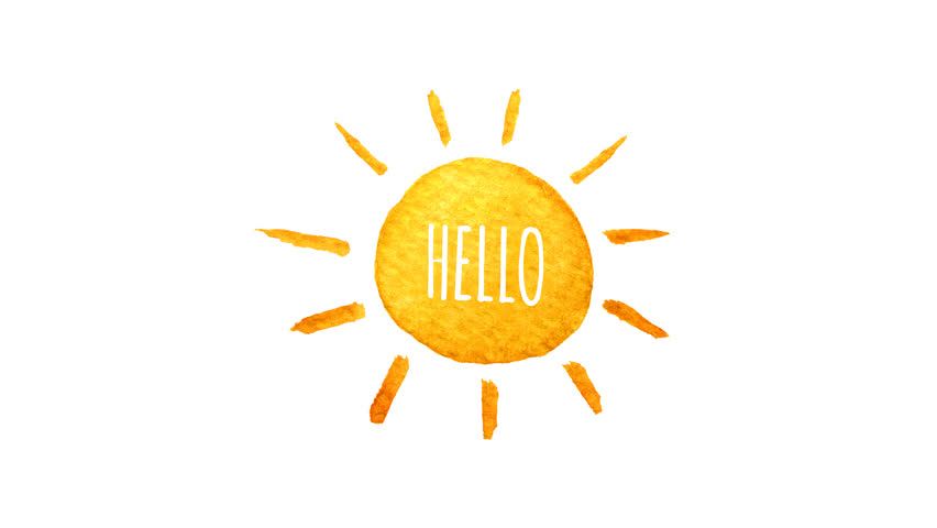 Cute Cartoon Sun Painted In Watercolor Say Hello Seamless Loop Animation Hand Drawn