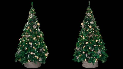 2 beautiful New Year decorated trees with glowing colorful lights, green shiny Christmas fir with balls, stars and sparkles, isolated on alpha channel with black and white matte, seamlessly looped