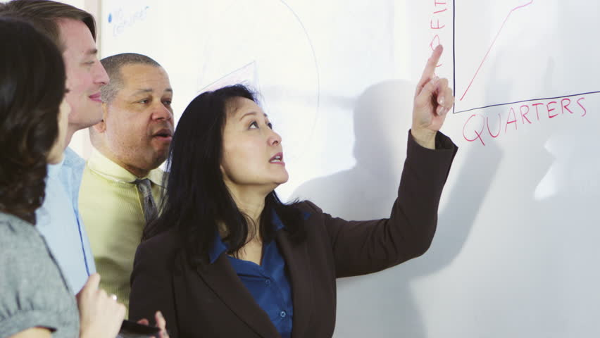 Slow motion businesswoman using graph with coworkers | Shutterstock HD Video #22641223