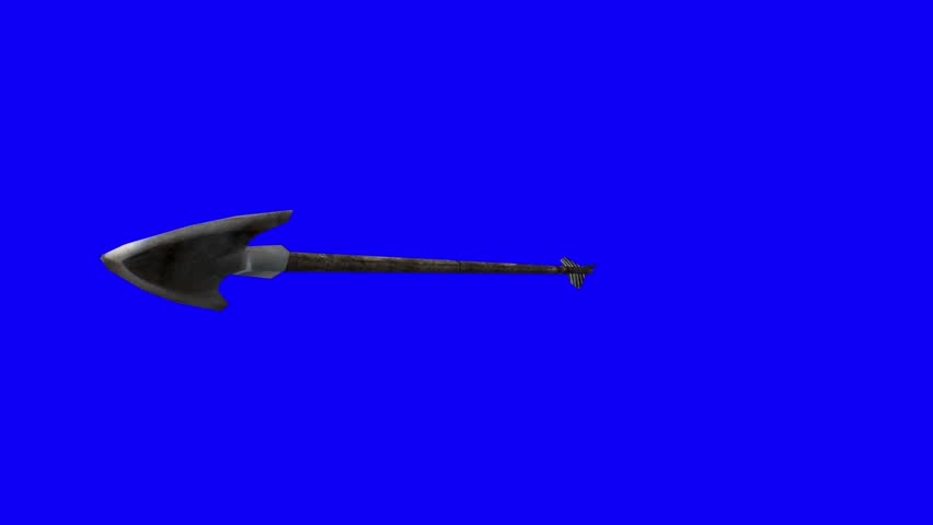 Camera Follow Shooting Arrow with Zoom on Arrow Head on a Blue Screen