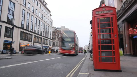 LONDON, UK APRIL 4th: Timelapse of buses and commuters going to work on the Strand, London on April 4th, 2012.
