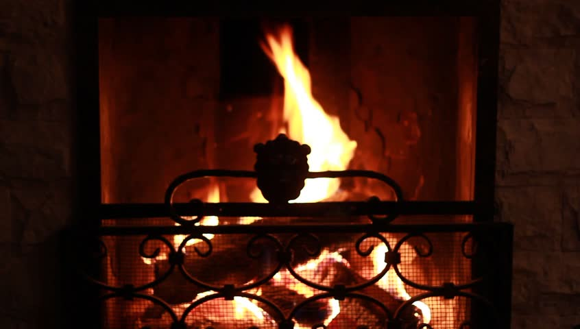 Fire Open Hearth Fireplace With Stock Footage Video 100 Royalty