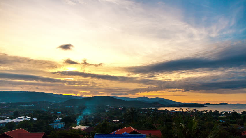 Spectacular sunset over tropical island  | Shutterstock HD Video #22787593