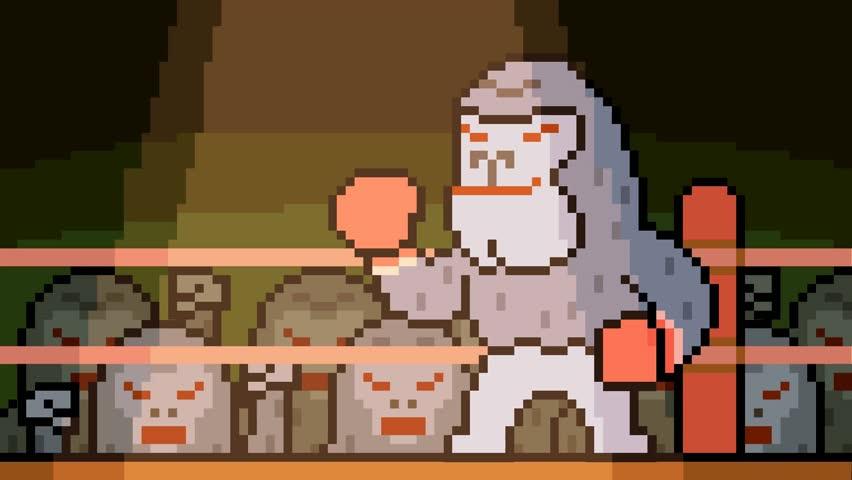 animation pixel art gorilla boxing