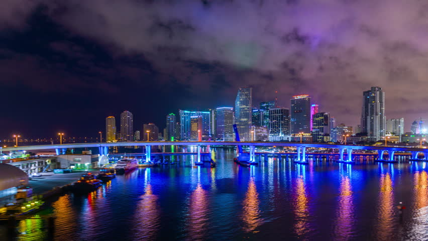 stock video of miami  florida  usa skyline over biscayne