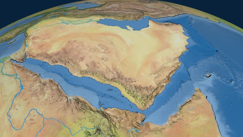 Saudi Arabia Extruded On The World Map Rivers And Lakes Shapes - Natural world map