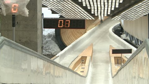 The bobsled and sledge go on the track