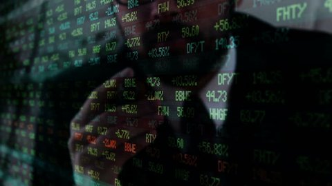Corrupt Wall Street lobbyist smokes cigar over stock market ticker