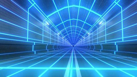 Looping tunnel 80s retro future wireframe arcade road tube subway neon glow loop 4k