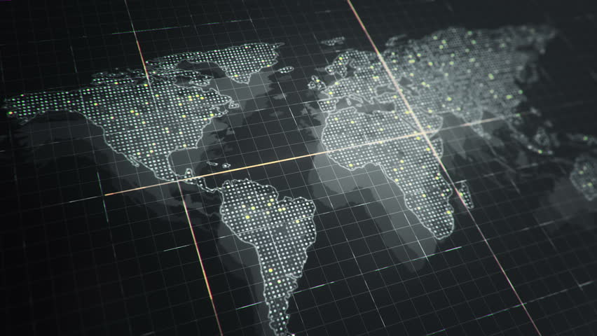Abstract animation of World map in digital screen with colorful dots and lines. Animation of seamless loop. | Shutterstock HD Video #22911772