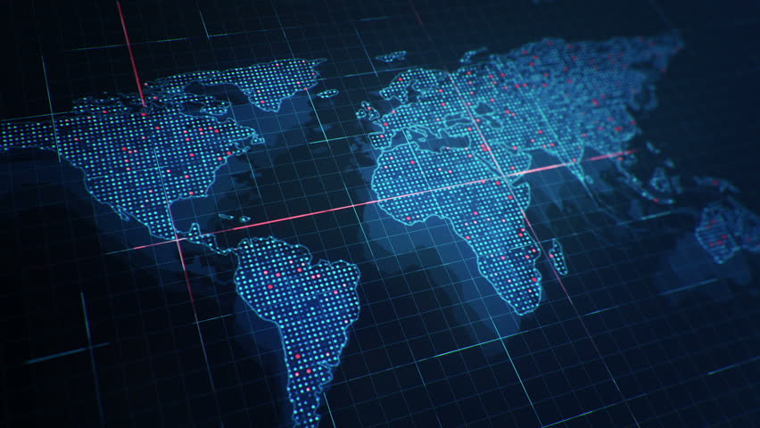 Abstract animation of World map in digital screen with colorful dots and lines. Animation of seamless loop. | Shutterstock HD Video #22911973