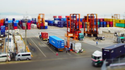 Time-lapse of busy container terminal in Fukuoka