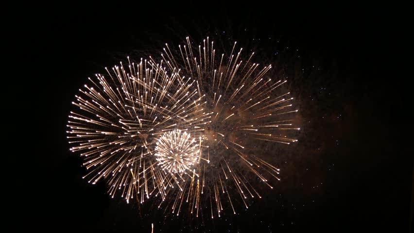 New year celebration multiple spectacular colorful fireworks
