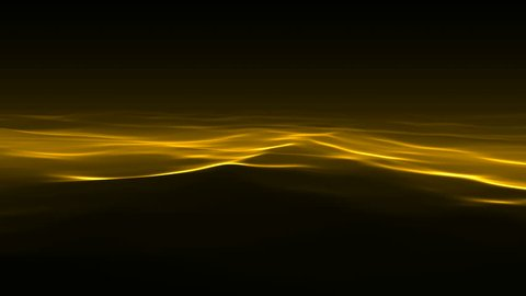 Abstract shiny golden waves. Light streaks. Seamless loop. Water waves, yellow color over a dark background. Ideal for Motion Graphics backgrounds, Composition, etc. Seamlessly loopable.