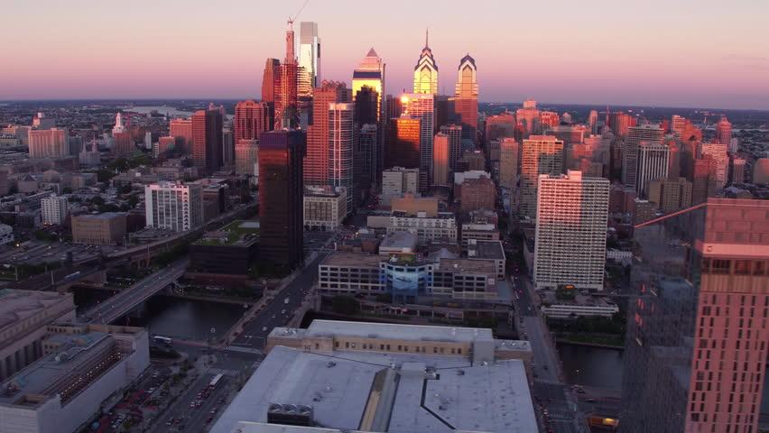 Aerial view of Philadelphia, Pennsylvania at sunset | Shutterstock HD Video #23013763