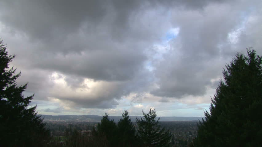 Portland Oregon's Willamette Valley with downtown on a cloudy and day, time lapse. | Shutterstock HD Video #2302253