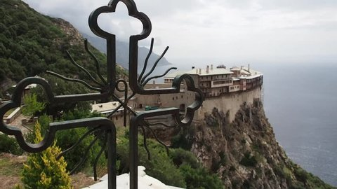 Greece, Mount Athos, Holy Monastery Simonopetra, view from the cross.