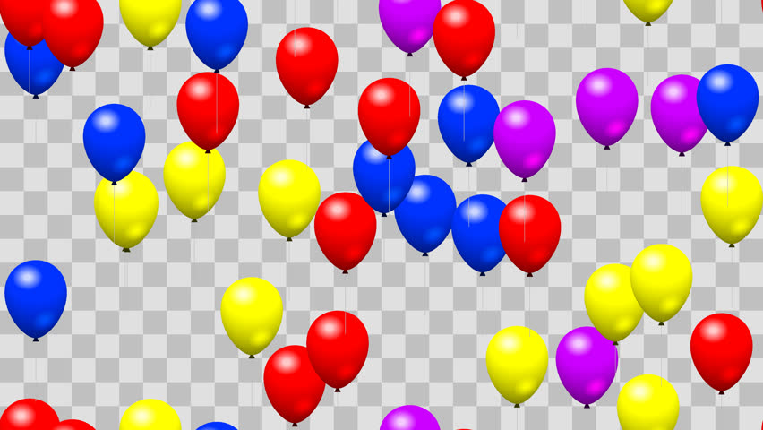 Party Birthday Balloons Seamless Loop With PNG Transparency