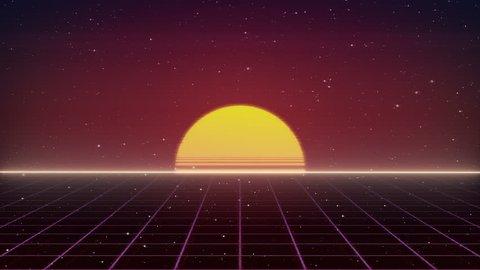 Retro Sun rise 80s style