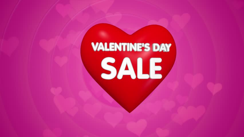 Happy Valentines Day Title Sale Or Discount Offer Concept, Big Red ...