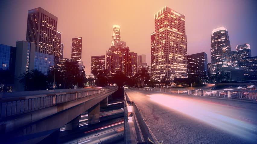 Night traffic in Los Angeles. Timelapse. | Shutterstock HD Video #2316098