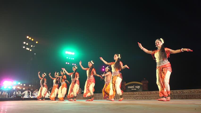 KONARK, INDIA - DECEMBER 2014: Traditional Indian dance performance on stage during a festival in Konark