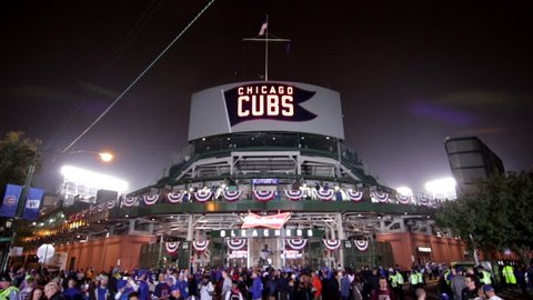 Chicago, Illinois - October 29th, 2016: Behind historic Wrigley Field during game 4 of the 2016 Major League Baseball World Series at the corner of Waveland and Sheffield. Cubs vs. Indians tilt down