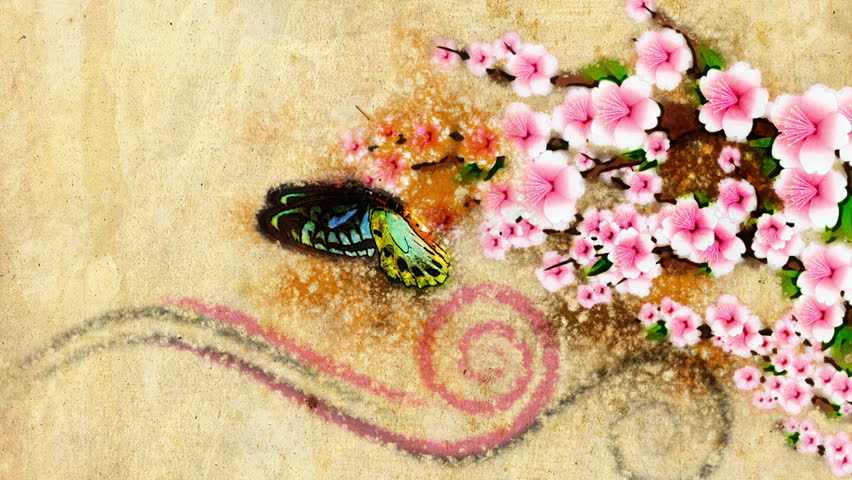 old style decorative backdrop with growing paint flowers and butterfly in japan style